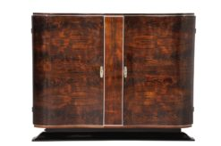 Art Deco Walnut Commode with curved doors, design furniture, restoration, original, storage, vintage, luxury, grain, veneer, high gloss, finish