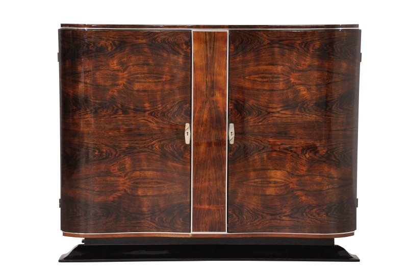 Art Deco Walnut Commode With Curved Doors, Design Furniture, Restoration,  Original, Storage