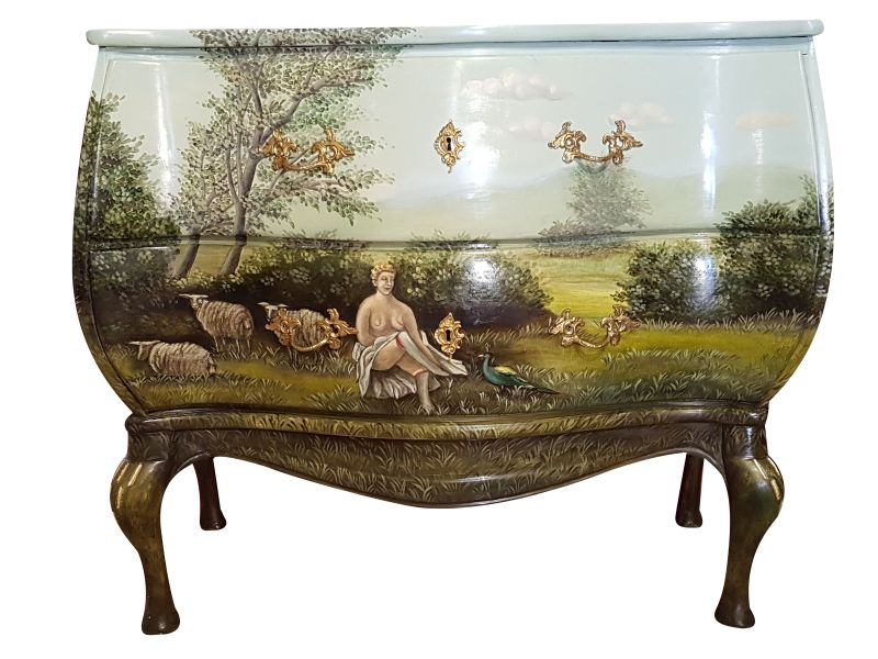 Old Commode With Landscape From 1930 Original Antique Furniture