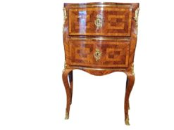 Rococo commode with marble top, late rococo, france, 1800, original, antiques, luxurious, palisander veneer, fire golden handles