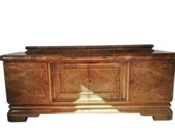1920s Art Deco Walnut Sideboard, grain, wood, furniture, original, antique, single piece, storage, marble extension, hutch, interior design