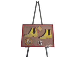 sand, picture, canvas, deco, element, image, illustration, easel, living, room, yellow boots, sig moo, cigarette, lighter