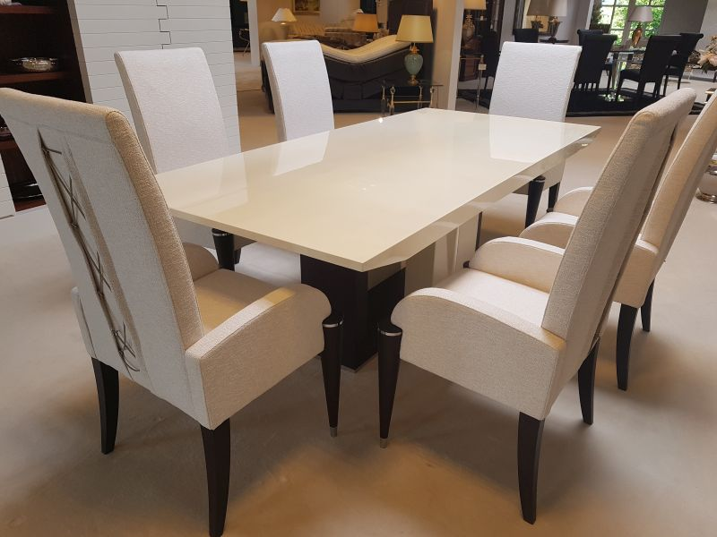 Black And White High Gloss Dining Table Original Antique Furniture