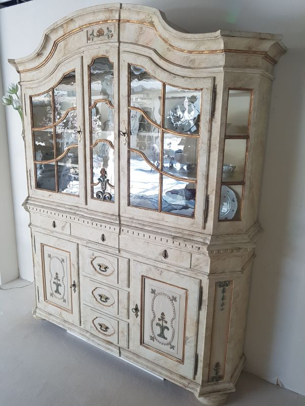 White Big Cupboard With Glass Vitrine Original Antique