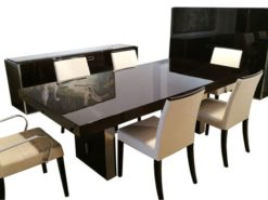 dining, room, set, table, highboard, sideboard, handcrafted, lacquered, maple, wood, high, gloss, style, design, armchair