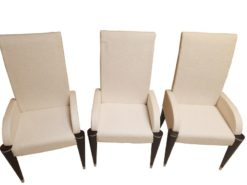chair, chairs, dining, black, fluted, legs, white, fabric, black, comfortable, petite, german, germany, design, ornamentations