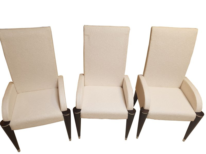 Fantastic White Fabric Dining Chairs With Black Fluted Legs Dailytribune Chair Design For Home Dailytribuneorg