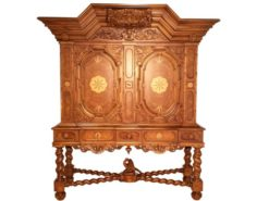 cabinet, hinged, doors, ornamentations, renaissance, facade, nurnberger, walnut, wood, maple, applications, highlight, eyecatcher