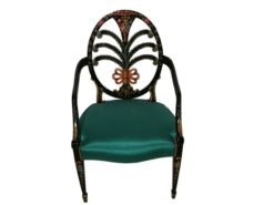 green, design, armchairs, chairs, horse, hair, frame, floral, manufacture, german, germany, pair, two, upholstery, modern