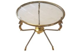 limited, edition, table, standing, small, german, germany, simple, polished, living, room, glass, brass, side, polished, stainless