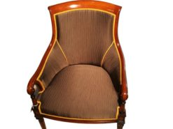 armchair, style, empire, cherry, wood, leather, top, fluted, carved, curved, red, cherrywood, living, room, comfortable, legs