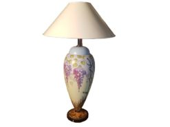 hand, painted, table, lamp, handwork, glass, limited, floral, ten, pieces, large, living, room, flowers, colorful, antique, new