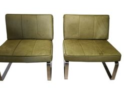 green, design, armchairs, chairs, horse, hair, frame, chrome, manufacture, german, germany, pair, two, upholstery, modern