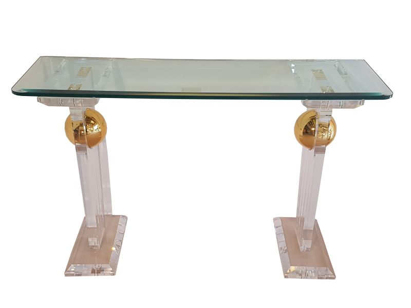 Solid, Console, Table, Glass, Refined, Plexiglass, Gold, Golden,