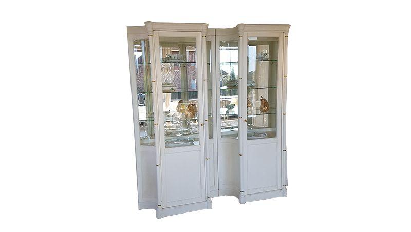 Illuminated Old White Display Cabinets
