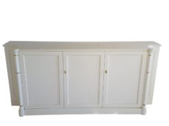 sideboard, golden, ornamentations, simple, white, two, towers, doors, glass, wood, storage, space, old-white, brushed, pattern