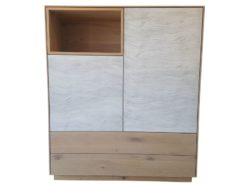 highboard, sideboard, wavy, painted, front, storage, space, push, to, open, simple, elegant, handles, design, living, room