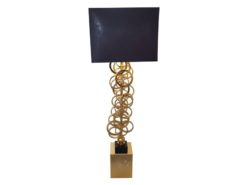 pair, two, side, table, lamps, massive, corpus, golden, rings, tube, solid, cuboid, black, solid, lampshade, violet, atmosphere