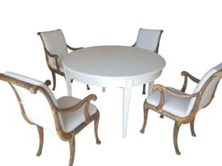dining, room, set, table, chair, extendable, tapered, upholstery, white, brown, golden, look, design, handwork, elegant, curved