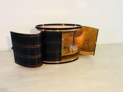 Macassar and Burl Art Deco Design Bar, Custom Made, Brass Details, Luxury furniture, design furniture, interior design, home decoration