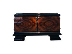 Burl lowboard or commode from the Art Deco era, Walnut, grain, veneer, design, interior design, luxury furntiure, storage, black, living room