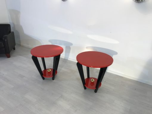 Pair of Red and Black Art Deco Style Side Tables, End Tables, Design Furniture, Colorful, Interior Design, Paintjob, Customizable