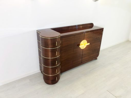Art Deco Design Palisander Sideboard in High Gloss, Rosewood, Lacquer, Brass Handles, Polished, Luxury Furniture, Original, Modern Design Furniture