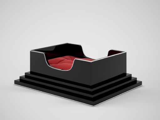 %%sitename%% Interior Design, Dog cart, animal beds, red pillow, dog pillow, sleeping, elegant, black furniture