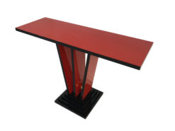 Red and black art deco design console table, luxury furniture, custom furniture, design, interior design, interiors, colorful