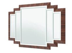 Art Deco Design Wall Mirror with macassar frame, mirror, interior design, luxury items, precious wood, high gloss, home decoration