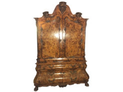 Baroque style armoire with floral ornamentations, walnut wood, curved drawers, crown details, carving, brass handles, mirror interior