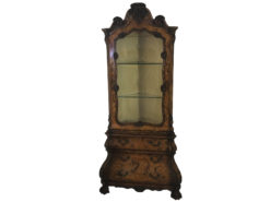 Baroque style corner vitrine, antique style, walnut wood, ornamentations, glass shelves, storage, crown, finely crafted details