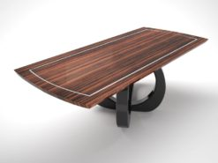 design, dining table, piano lacquer, curved, foot, makassar, tabletop, inlay, glossy, living room, dining room, table, art, deco