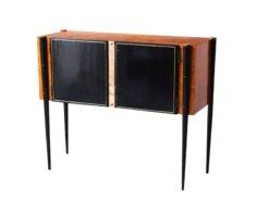 Art, deco, console, cabinet, 1940, lumber, restored, living room, black, brown, italy, italian, mid, century, beech, mirror
