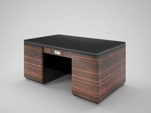 art, deco, desk, macassar, double-sided, brown, black, drawers, large, wide, design, luxury, office, living room, wood, pattern