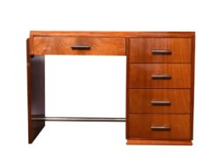 mahogony, art, deco, desk, 1930, wood, brown, old, vintage, design, office, france, drawer, restored, lacquered, french, polished