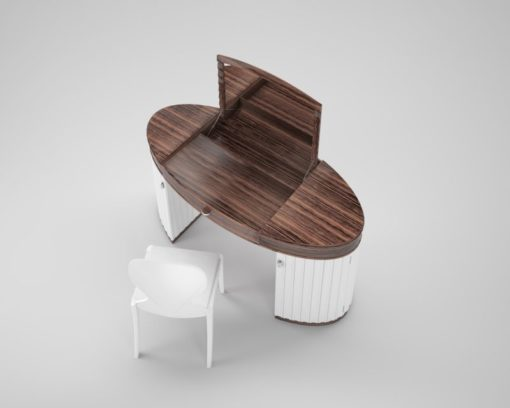 White Gloss Dressing Table And Chair: White Glossy Design Dressing Table Set