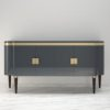 High Gloss Design Sideboard with Grey Paintjob and Brass Details  5