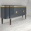 High Gloss Design Sideboard with Grey Paintjob and Brass Details  4