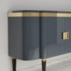 High Gloss Design Sideboard with Grey Paintjob and Brass Details