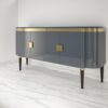 High Gloss Design Sideboard with Grey Paintjob and Brass Details  2