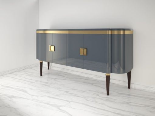 High Gloss Design Sideboard with a Grey Paintjob and Brass Details, Luxury furniture, finish, handmade, high end, quality, interior design