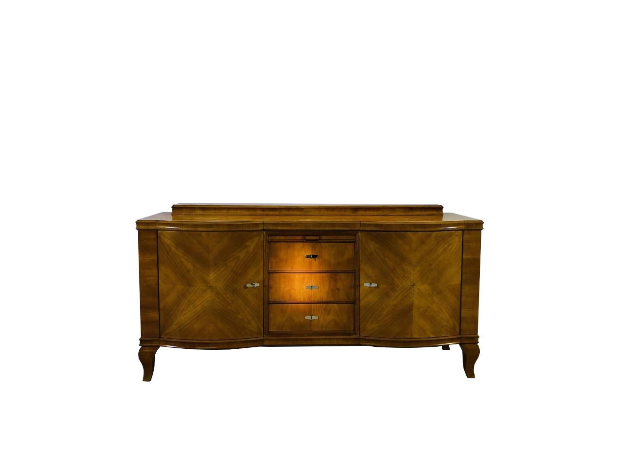 Original Art Deco Buffet Made Of Bright Walnut Original Antique