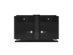 black, art, deco, chest of drawers, leather, drawer, chrome handles, sideboard, living room, new, old, restored, design, style, lacquer