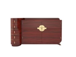 Art Deco Design Palisander Sideboard in High Gloss, Rosewood, Lacquer, Brass Handles, Polished, Luxury Furniture, Original