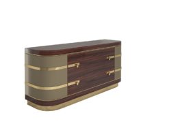 Exceptional Palisander Sideboard with Polished Brass Details, High Gloss Finish, Locks, Art Deco Design, Modern Sideboard, Interior Design
