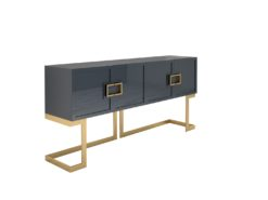 Gray Design Sideboard Buffet with polished brass legs, luxury furniture, storage, living room, interior design, high gloss, made in Germany