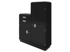 art, deco, design, black, cabinet, double cupboard, chrome, piano lacquer, bar cabinet, bar, chrome handles, new, old, restored