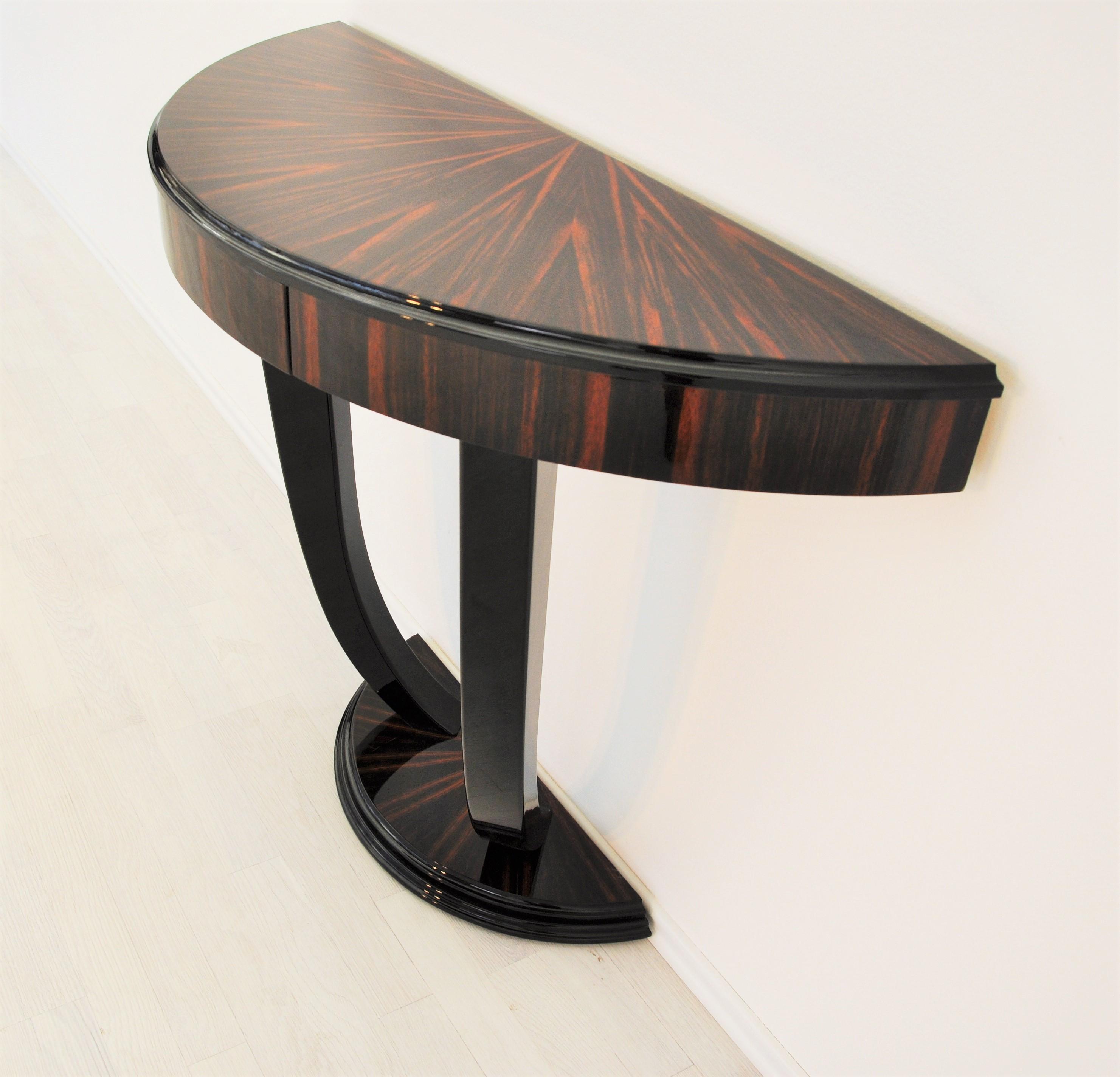 Details zu XXL Art Deco Schreibtisch mit Makassar Furnier