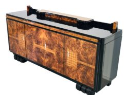 1920s Walnut Burl Art Deco Sideboard with Ornamentations, Limited Offer, On Sale, Antiques, furniture, art deco furniture, france, luxury